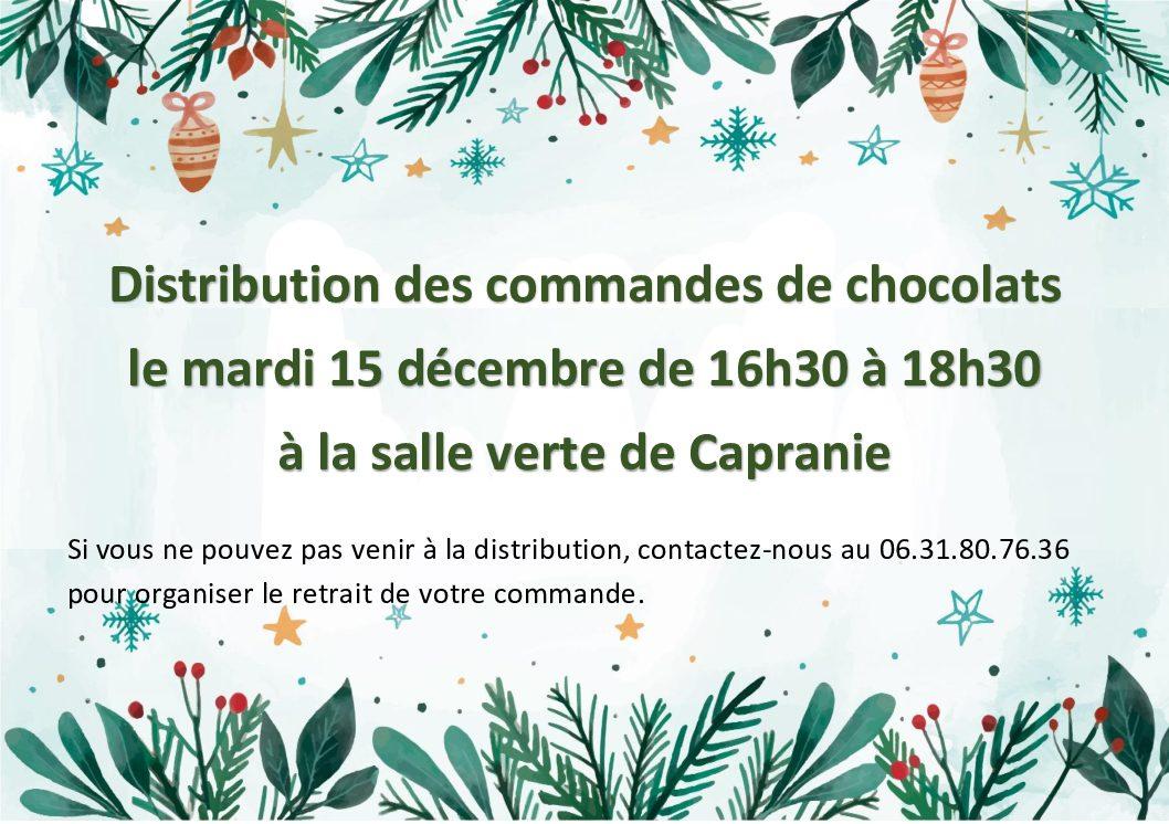 Distribution des commandes de chocolat le mardi 15 décembre
